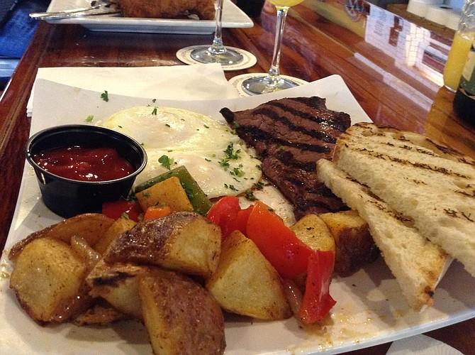 Ray's breakfast: steak and eggs