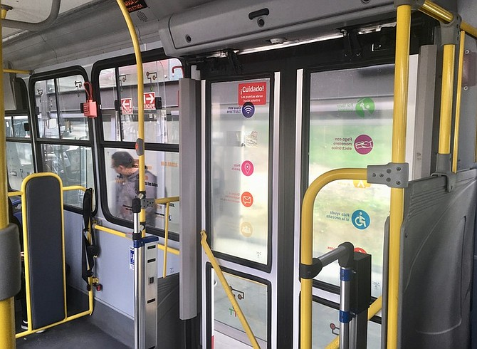 With functioning buttons to request stops