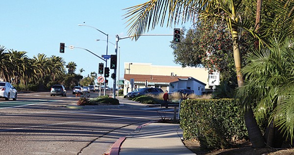 The crosswalk on Cañon in Pt. Loma is on a blind right turn (note man in red shirt).