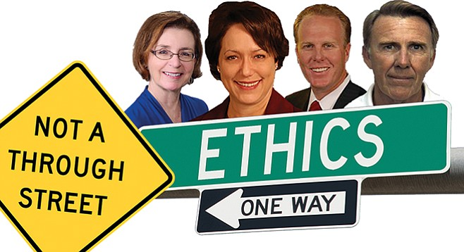 These people know more about the city's ethics enforcement policies than you ever could: April Boling, Stacey Fulhorst, Kevin Faulconer, Clyde Fuller.