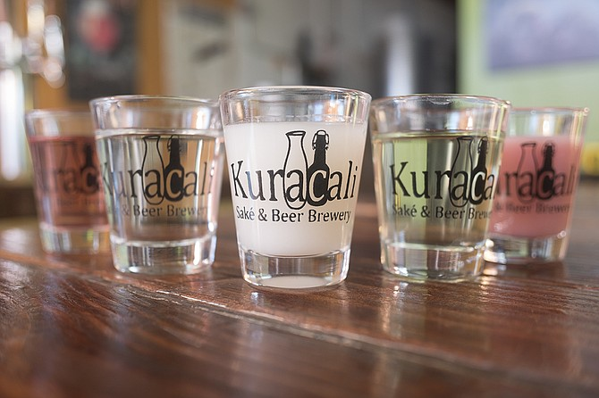 At Kuracali, traditional filtered and cloudy sakes are offered, along with fruit flavors such as blood orange, kiwi, and blackberry.