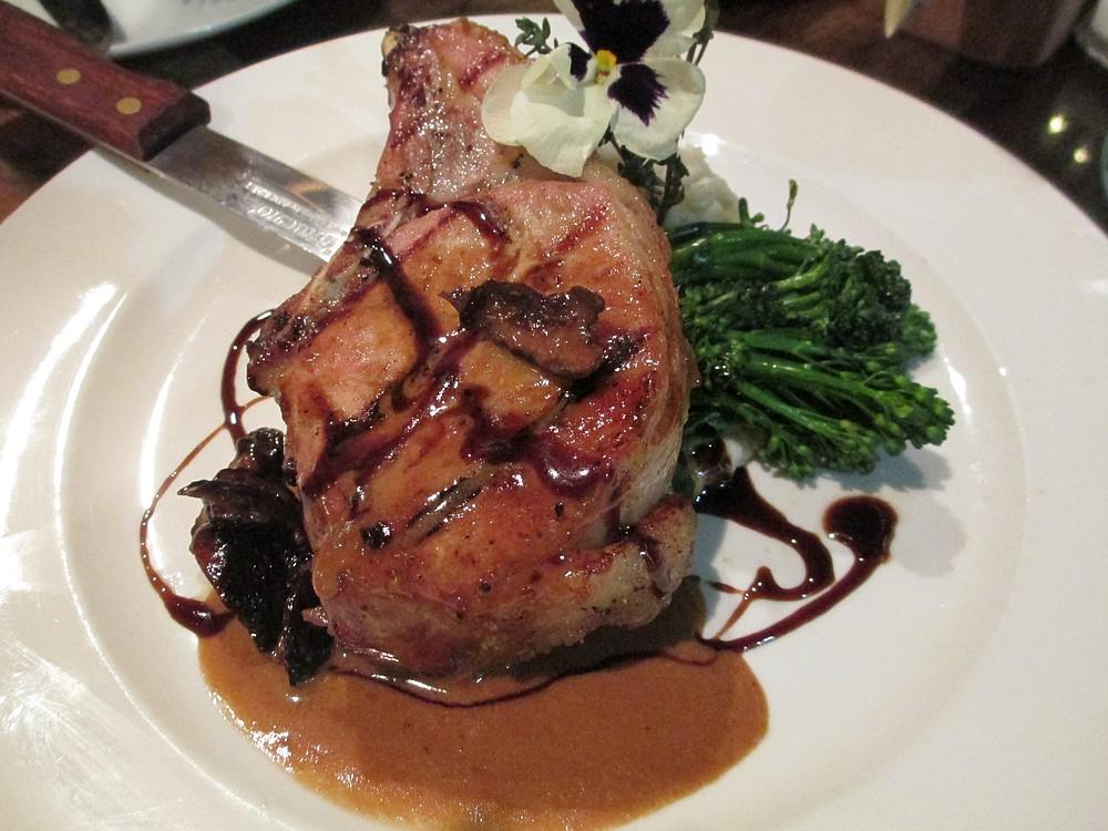 The kurobuta pork chop stands out.