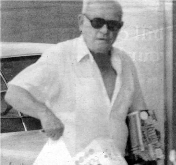 FBI surveillance photo of Bompensiero at Vons in Pacific Beach, c. 1976