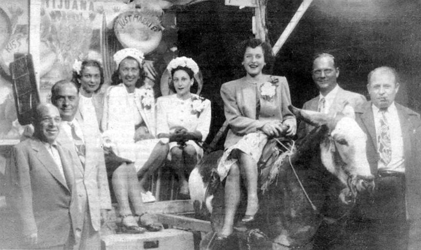 Tijuana, circa 1946 (from left), Three-Fingered Frank, Frank LePorte, Diva, Mickey La Porte, Thelma Bompensiero, Mary Ann Bompensiero, Al (Frank La Porte's bodyguard), Frank Bompensiero