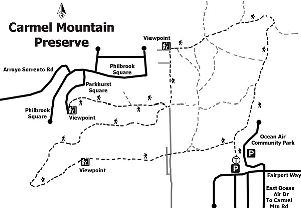 Map of hiking trials within Carmel Mountain Preserve