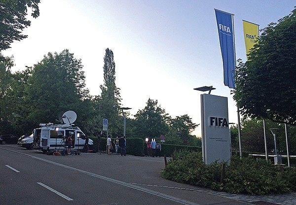 Media in front of FIFA headquarters for corruption case, 2016.