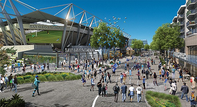 Artist's rendering of a Mission Valley soccer stadium