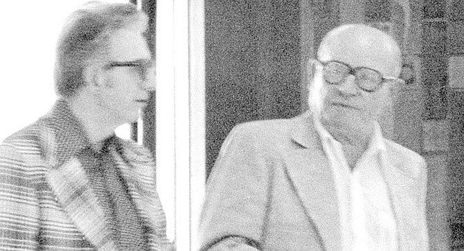 FBI surveillance photo of Jimmy Fratianno (left) and Frank Bompensiero. He started walking south, on Lamont, from Thomas Avenue. He soon arrived, only feet away from the tall picket fence. This would be the fence behind which his assailant was hiding.
