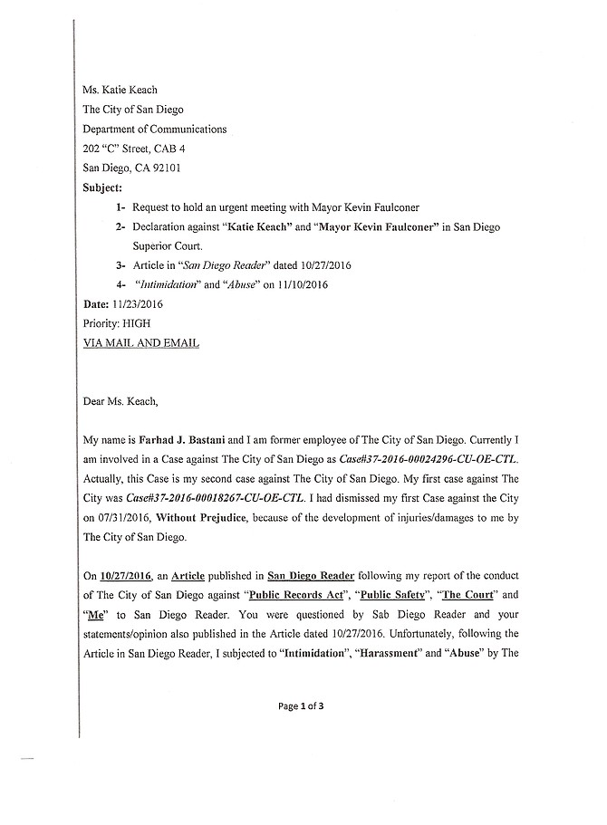 Letter to Mayor Faulconer and Katie Keach on 11/28/2016, Page 1 of 3.