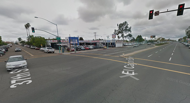The proposed location is at 37th Street and El Cajon Boulevard, the southwest corner now occupied by an auto-body shop.