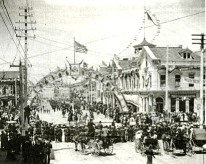 Parade on D Street, downtown, 1899.