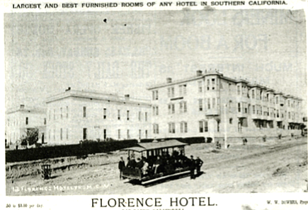 The town's first true resort hotel, the Florence, built in 1884, was set on a knoll at Third and Fir streets.
