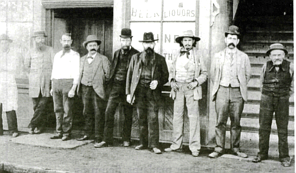 Outside saloon, 14th and K streets. By 1888, observers were counting 120 bawdy houses and more than 70 bars downtown.