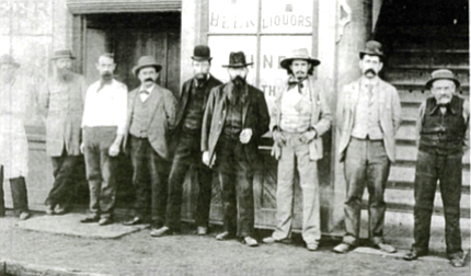 Outside saloon, 14th and K streets. By 1888, observers were counting 120 bawdy houses and more than 70 bars downtown. - Image by San Diego Historical Society