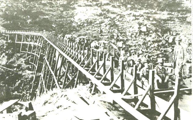 San Diego flume, opening day, 1888. To transport water from the Cuyamaca Reservoir westward, the developers built a 35-mile-long flume.
