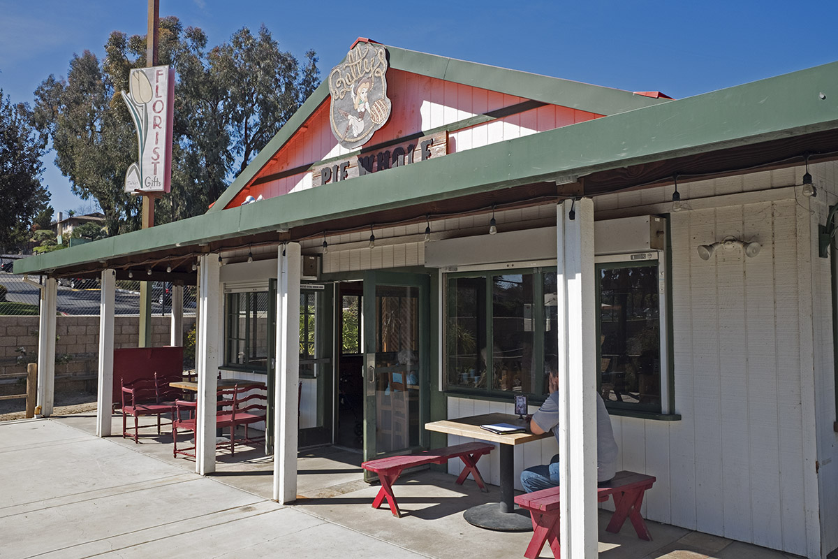 The rustic pie saloon sits next to decades-old nursery Sunshine Gardens