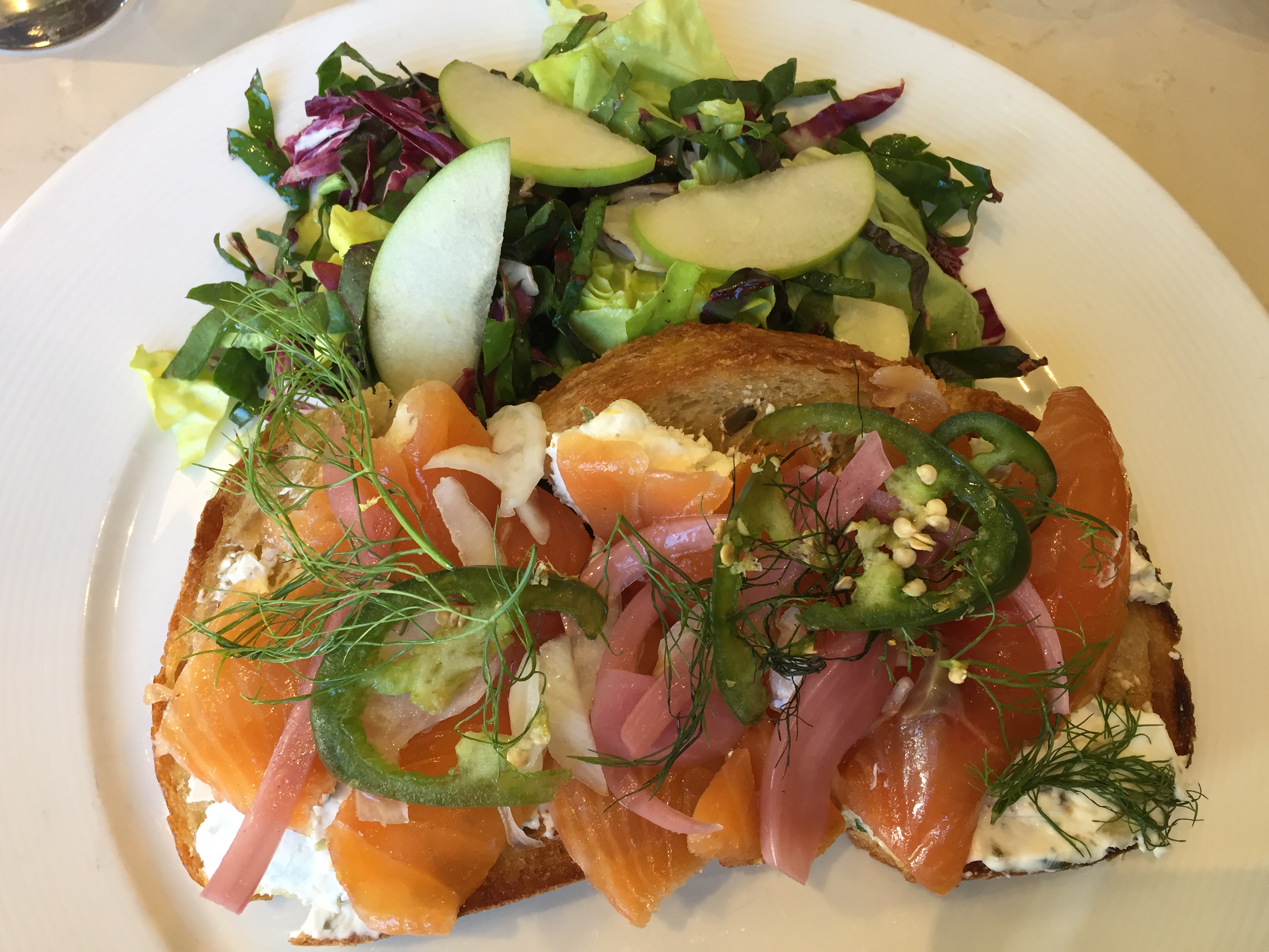The House Cured Salmon, which is like lox and bagels but with sourdough toast
