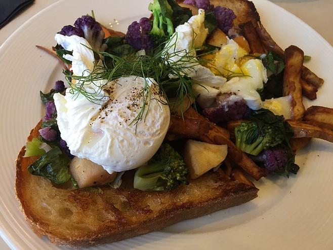 The Veggie Hash with cauliflower, broccoli, sweet potato, rainbow chard...and of course sourdough
