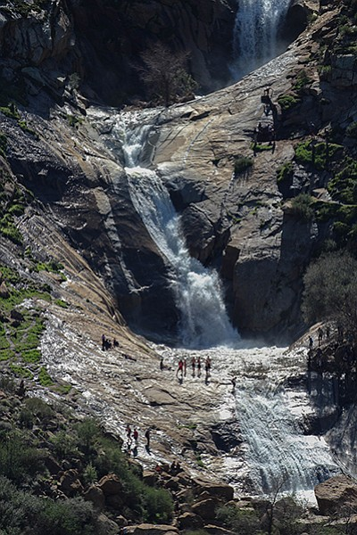 Boulder scrambling and slippery rock