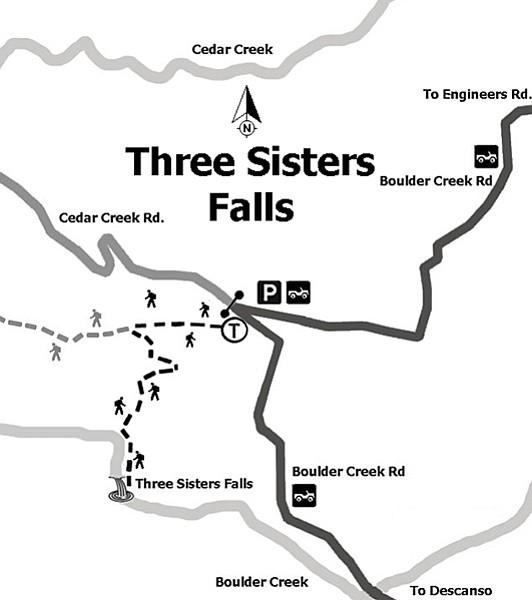 Map to Three Sisters Falls