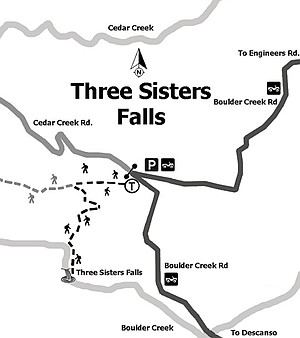 Map to Three Sisters Falls