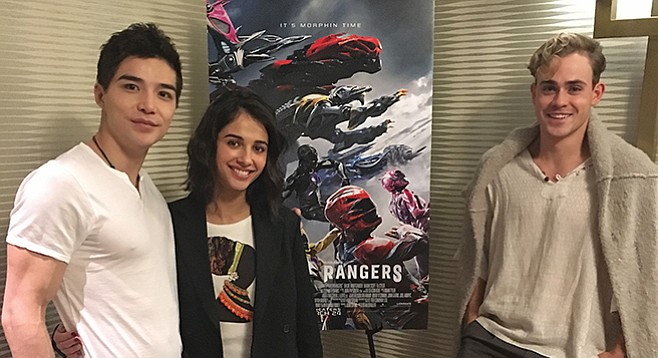 From left: Ludi Lin, Naomi Scott, and Dacre Montgomery — the black, pink, and red Power Rangers — prepare to shoulder the burden of playing characters who have been captivating children's imaginations for 24 years.