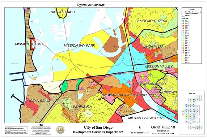 Current zoning for the land is IL-3-1 (baby blue area).