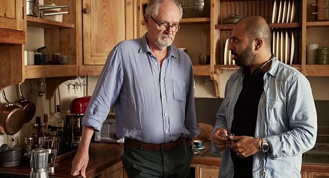 Sense of an Ending star Jim Broadbent (left) listens to director Ritesh Batra on the set