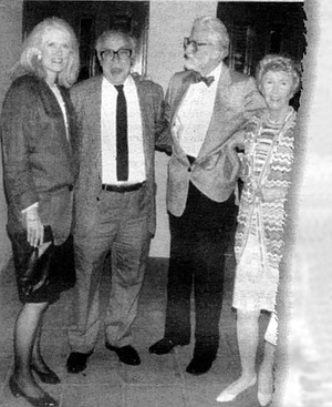 Probably Ted's last photo. Standing outside La Valencia Hotel, La Jolla, in May 1990 are (from left) Judith Morgan, Art Buchwald, Ted and Audrey.