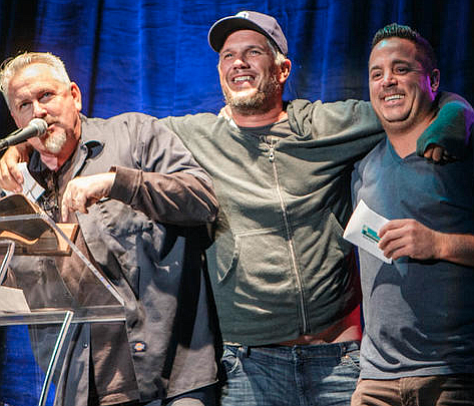 """Rock jocks Mike Halloran, Chris Cantore, and Steven Woods were jokingly planning a """"Distressed DJs"""" benefit when Bob Wilson reached out. Halloran: """"Then I hear from Bob Wilson who said it would be nice if somebody did a gofundme for him."""""""