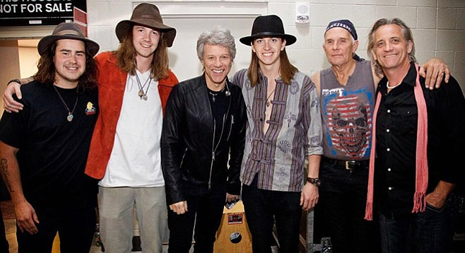 Jon Bon Jovi (center) personally chose one-time San Diego band Daring Greatly to open his 12,000-seat Las Vegas show.