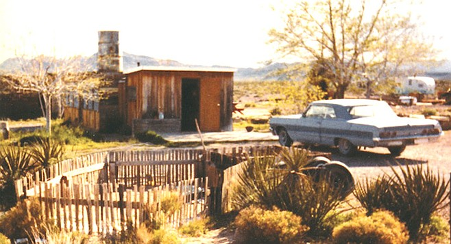 "Daugherty residence, Nevada, 1981. Arden can be seen from the last downhill grade into the Las Vegas Strip. Take the Blue Diamond exit, just past a sign that reads: ""Don't Bring Drugs Into Nevada. Life Imprisonment."""