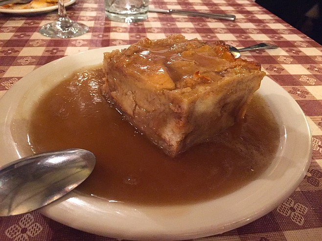 Bread Pudding with Whiskey Sauce, a perfectly salty, sugary, warm note on which to end the evening.