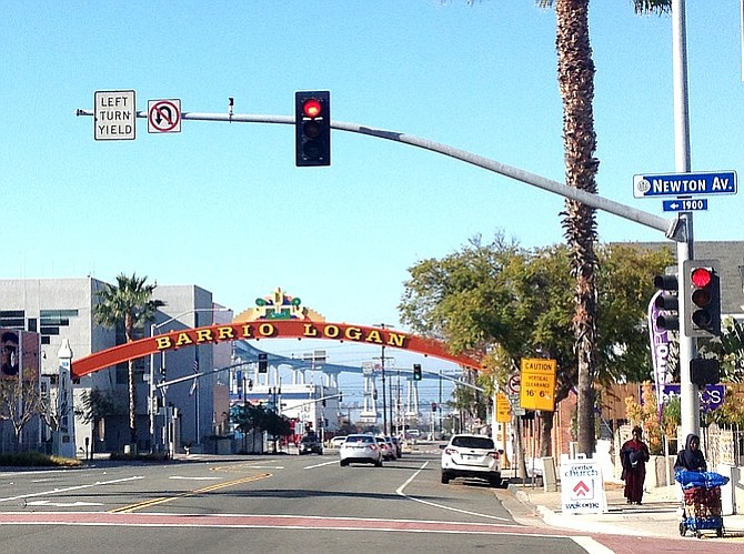 Barrio Logan's 16´6˝ gateway sign prevents some trucks from using Cesar Chavez Parkway.
