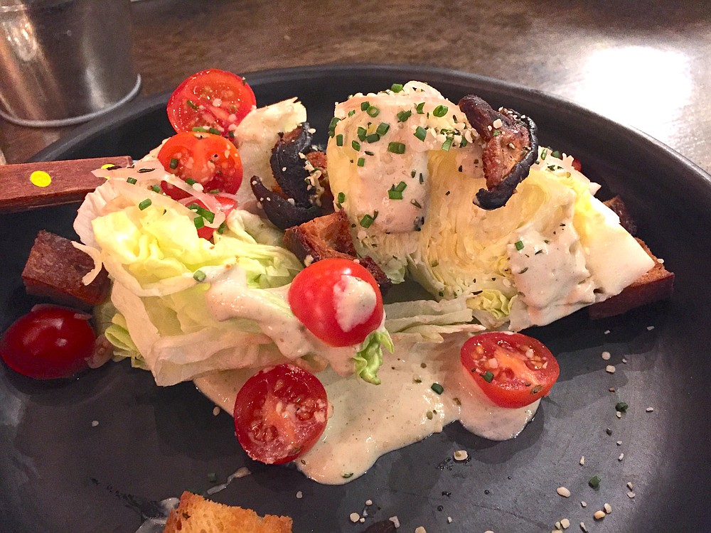 The Wedge Salad was served with a creamy, hemp-based dressing