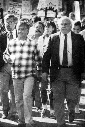 Ed Jahn, Cesar Chavez, Ed Asner. Asner joined Cesar Chavez of the farm workers' union at a rally urging subscribers to boycott the Union-Tribune.