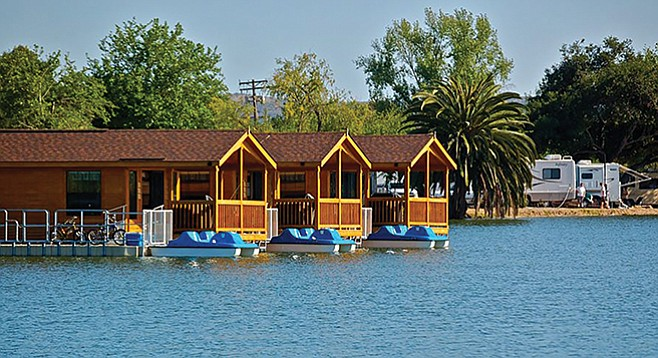 Santee Lakes floating cabins you can fish from.
