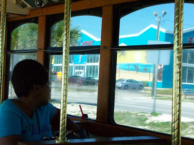 Enjoying the view in Biloxi, MS. from the Beachcomber bus.