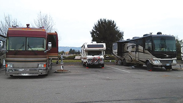 Parked in Petaluma (middle). Our kids laughed at us and gave us the Breaking Bad series.