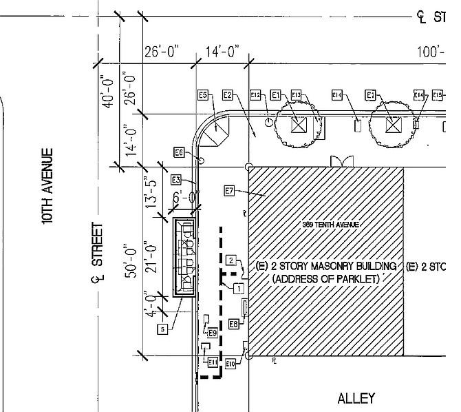 Preliminary parklet plan by Lahaina Architects