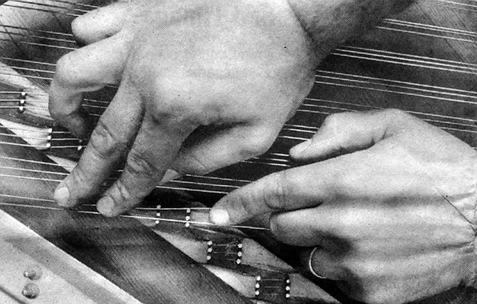 To loosen the glue that cemented the tops of the keys, he placed a dampened cloth on each key and then a hot clothes iron on the cloth for thirty seconds.