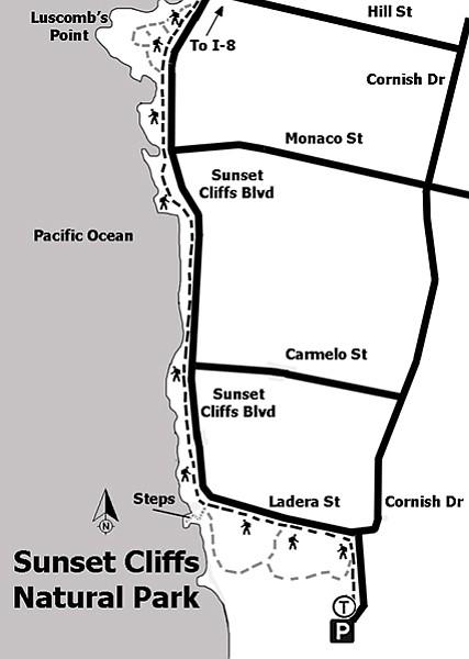 Sunset Cliffs Linear Park trail map