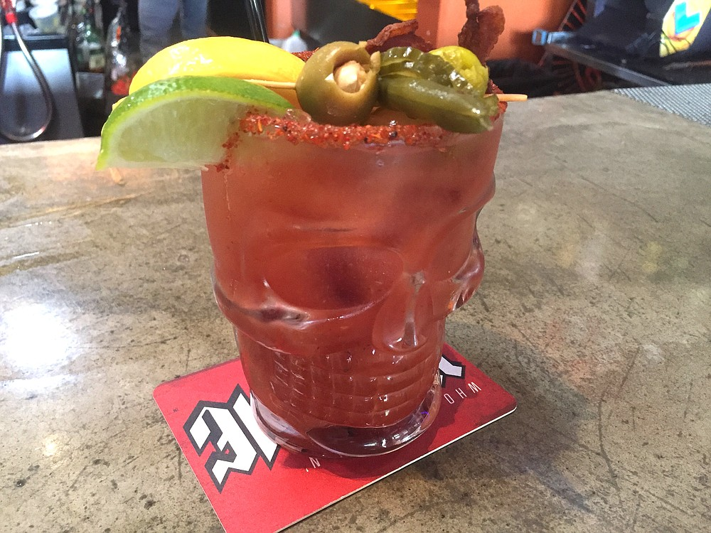 Bloody Mary, in a skull-shaped mug for a reason