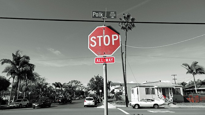 North Park stop sign. This  photo shows only red in an otherwise black & white photo. It's an in-camera effect with my 18MP Sony Cyber-Shot.