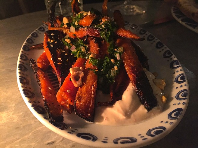 Roasted carrots, sweet with a nice char, served with nuts and yogurt. And Dominique-approved.