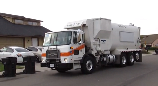 San Diego Garbage truck. Grand jury said there aren't enough mechanics to keep up with repairs.