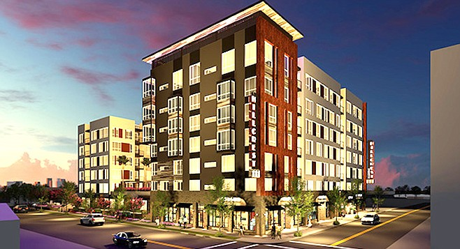 Hillcrest 111 makes use of development incentives that allow bigger projects and less parking in exchange for affordable housing.