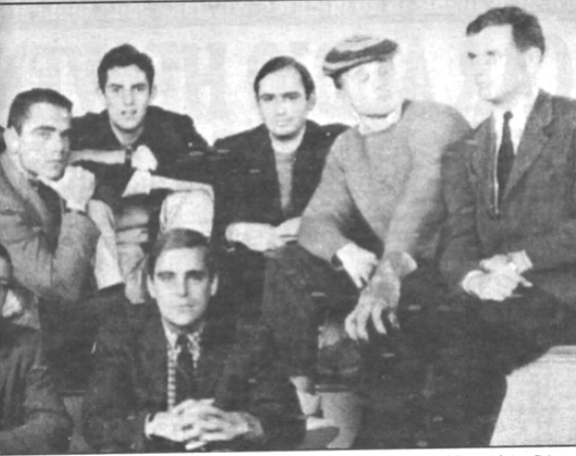 Author at Princeton (third from left). The last time I had intersected with him, he had swept through Princeton in a car sought for repossession, charging clothes and books and jazz records to my accounts.