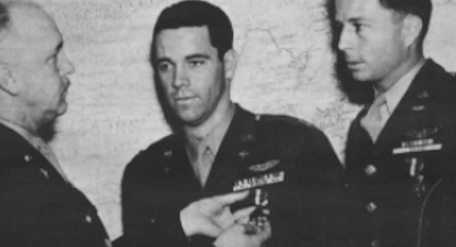 "Thomas Lanphier (center) receiving Silver Star. ""This was the one time I calculatedly determined to trade my life for the target."""