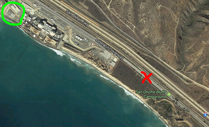 Map of storage site next to the ocean